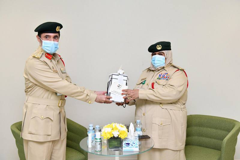 Brigadier Nabeel Abdullah Alrida, Deputy Director of Operations, honours Lt. Khatoon Ali Al Balooshi who has been serving the force since the 1977. The General Department of Operations at Dubai Police has recently organised a ceremony in an early celebration of the Emirati Women's Day which falls on the 28th of August. WAM