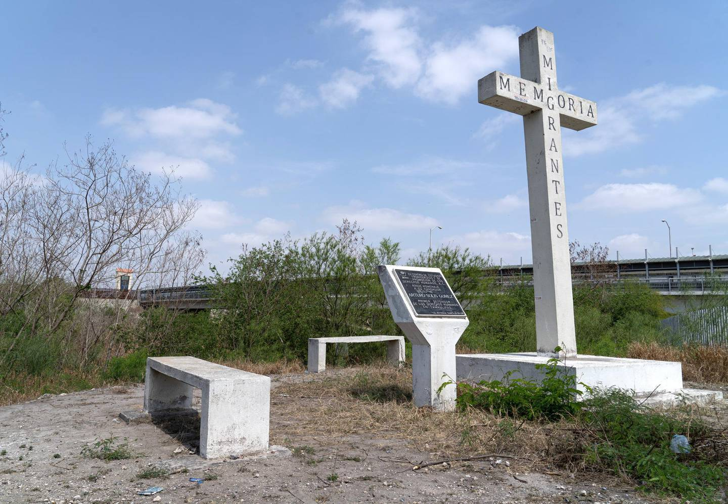 A shrine to migrants along the banks or the Rio Grande River in Reynosa, Mexico. The US is on the other side of the river. Willy Lowry/ The National