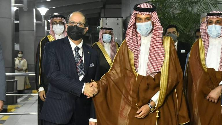An image that illustrates this article Saudi Arabia's foreign minister arrives in India