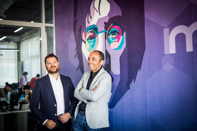 10 JULY 2017- BEIRUT, LEBANON(L-R) Eddy Maroun and Elie Habib, co-creators of Anghami, at Anghami Headquarter offices. Anghami is the first legal music streaming platform and digital distribution company in the Arab World region launched in November 2012 providing unlimited Arabic and International music to stream and download for offline mode.Photo by Natalie Naccache for The National