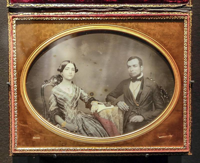 Abu Dhabi, April 23, 2019.    Photographs 1842-1896:  An early album of the world at Louvre Abu Dhabi.  --  Benjamin Franklin Pease (1822-1888)Portrait of a coupleLima, Peru, 1852-56DaguerreotypeParis, musée du quai Branly-Jacques ChiracVictor Besa/The National Section:  Arts & LifeReporter:  Melissa Gronlund
