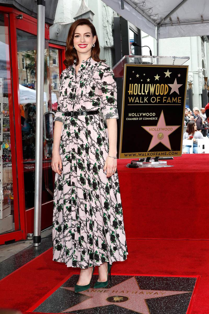 epa07559513 US actress Anne Hathaway receives the 2,663rd Star on the Hollywood Walk of Fame in Hollywood, California, USA, 09 May 2019. The star was dedicated in the Category of Motion Pictures  EPA-EFE/NINA PROMMER