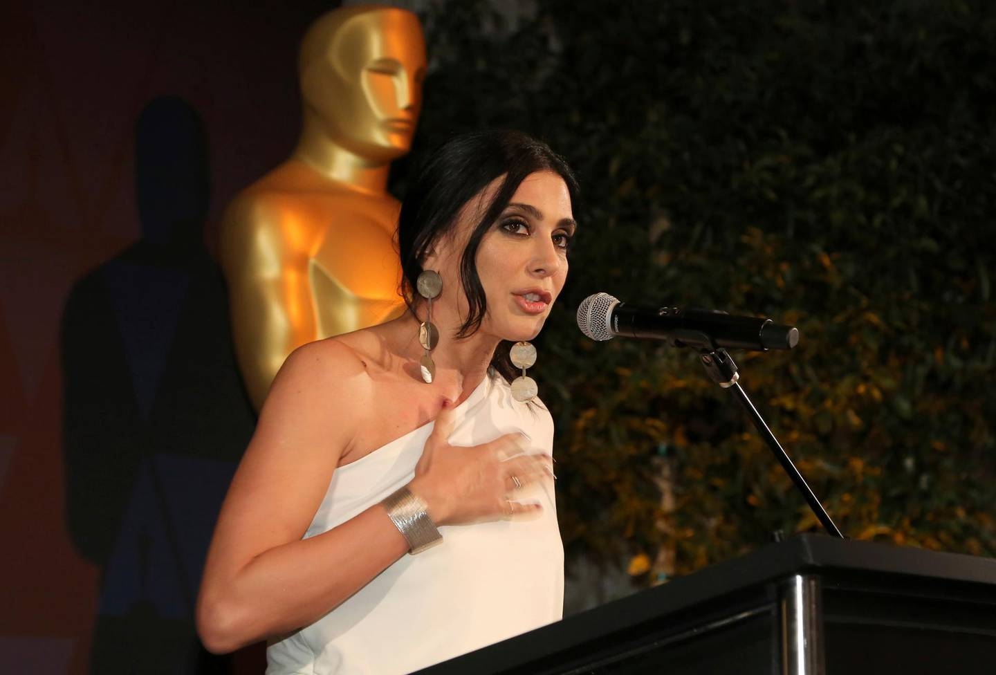 Nadine Labaki speaks at the 91st Academy Awards Foreign Language Nominees Reception at the Los Angeles Museum of Art on Friday, Feb. 22, 2019, in Los Angeles. (Photo by Willy Sanjuan/Invision/AP)