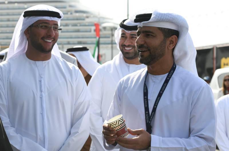 Abu Dhabi, United Arab Emirates - Captain Mohamed Juma Al Shamisi, Abu Dhabi Ports Group CEO interacts with a vendor, at the grand opening of MARSA MINA at Zayed Port. Khushnum Bhandari for The National