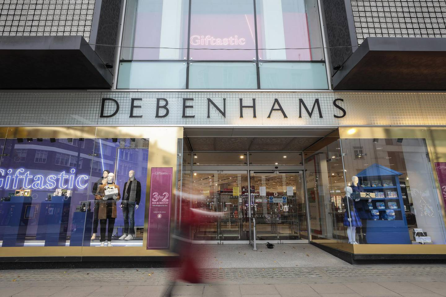The Debenhams Plc flagship department store on Oxford Street in central London, U.K., on Monday, Nov. 30, 2020. Philip Green'sArcadiaGroup is poised to seek protection from creditors and become the most notable U.K. retail insolvency since the beginning of the coronavirus pandemic. Photographer: Jason Alden/Bloomberg