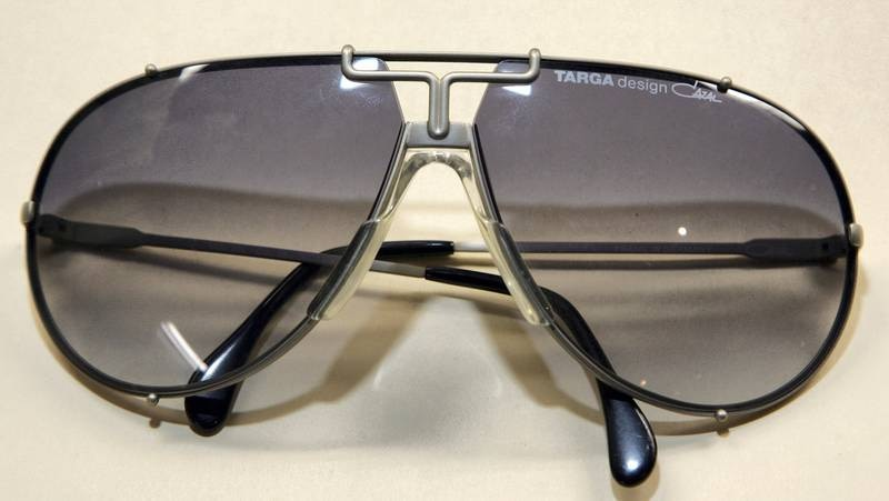 LAS VEGAS - MAY 27:  Michael Jackson's aviator-style Targa sunglasses are on display at The Joint music venue inside the Hard Rock Hotel & Casino May 27, 2007 in Las Vegas, Nevada. Guernsey's auction house will auction about 1,100 items of Jackson family memorabilia on May 30 and 31 at the Hard Rock.  (Photo by Ethan Miller/Getty Images)