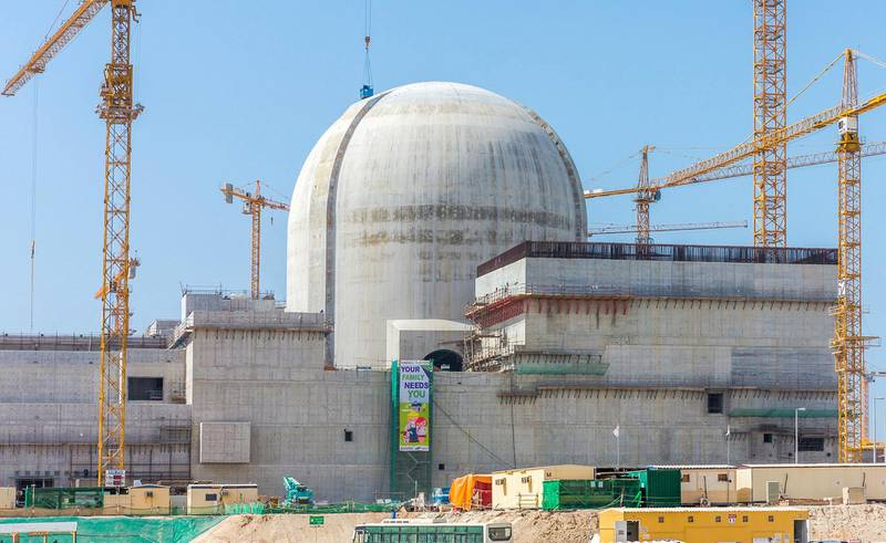 """A handout photo released by the ENEC on June 1, 2017 shows part of the Barakah Nuclear power plant under construction near al-Hamra west of Abu Dhabi in May 2017. / AFP PHOTO / ENEC / Arun GIRIJA / RESTRICTED TO EDITORIAL USE - MANDATORY CREDIT """"AFP PHOTO / ENEC / ARUN GIRIJA"""" - NO MARKETING NO ADVERTISING CAMPAIGNS - DISTRIBUTED AS A SERVICE TO CLIENTS"""
