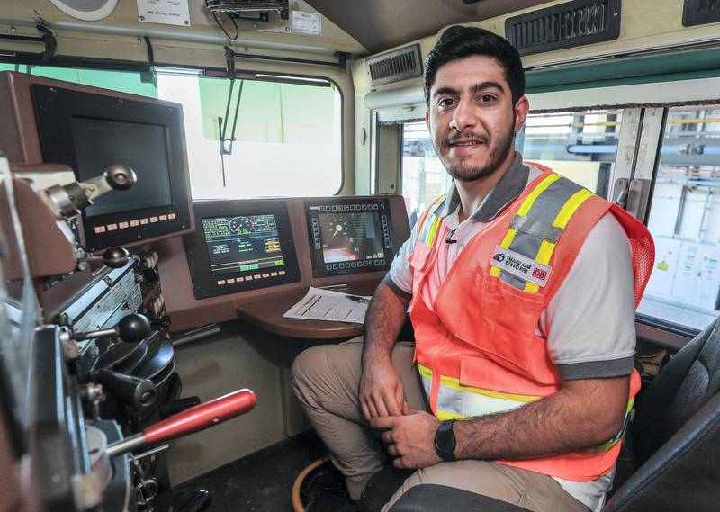 Abu Dhabi, United Arab Emirates, October 28, 2020.  Etihad Rail.  Ibrahim Al Hammadi, Train Captain.Victor Besa/The NationalSection:  NAReporter:  Kelly Clarke