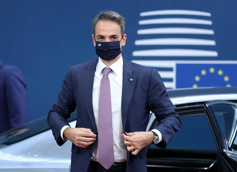 Greece's Prime Minister Kyriakos Mitsotakis arrives for the second day of a EU summit at the European Council building in Brussels, Belgium June 25, 2021. Aris Oikonomou/Pool via REUTERS
