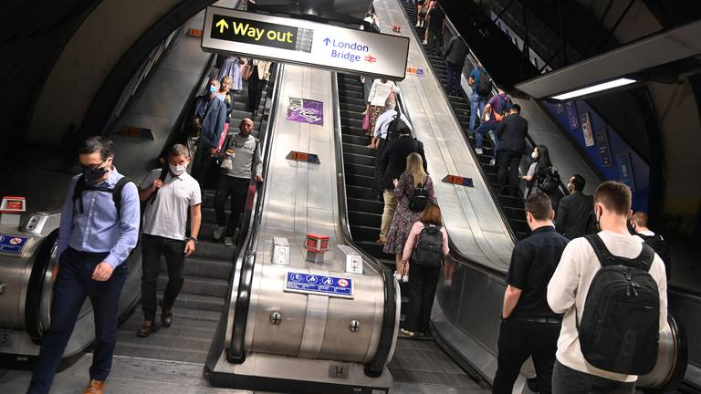 An image that illustrates this article London Underground accidents rise as passengers avoid 'tainted' handrails