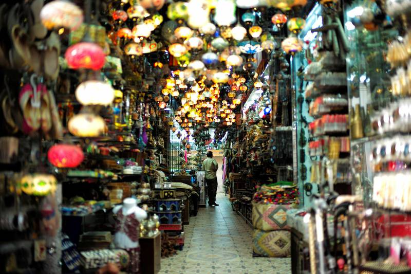 A visitor looks at traditional light-shop in local souq at Bab al Bahrain in Manama, Bahrain June 27, 2018. Picture taken June 27, 2018. REUTERS/Hamad I Mohammed