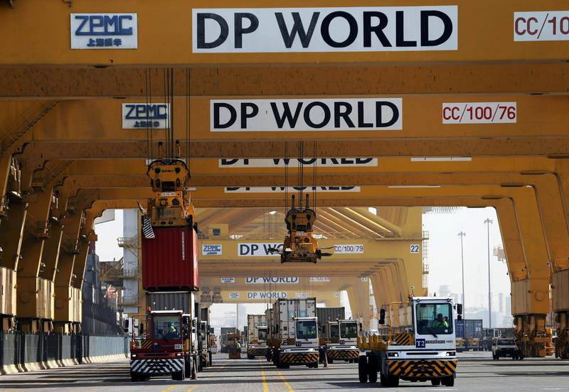 FILE PHOTO: Terminal tractors line up to offload their containers into a cargo ship at DP World's fully automated Terminal 2 at Jebel Ali Port in Dubai, United Arab Emirates, December 27, 2018. REUTERS/ Hamad I Mohammed/File Photo