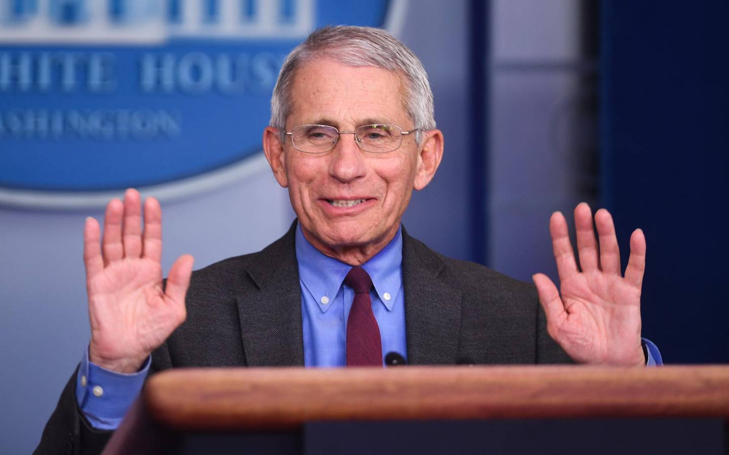 """Anthony Fauci, director of the National Institute of Allergy and Infectious Diseases, speaks during a Coronavirus Task Force news conference at the White House in Washington, D.C., U.S., on Friday, April 10, 2020. President Donald Trump said he has asked his agriculture secretary to """"use all of the funds and authorities at his disposal,"""" to aid U.S. farmers, whose financial peril has worsened in the coronavirus pandemic. Photographer: Kevin Dietsch/UPI/Bloomberg"""