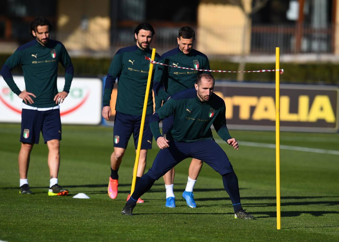 FLORENCE, ITALY - MARCH 23: Giorgio Chiellini attendsan Italy training session at Centro Tecnico Federale di Coverciano on March 23, 2021 in Florence, Italy. (Photo by Claudio Villa/Getty Images)