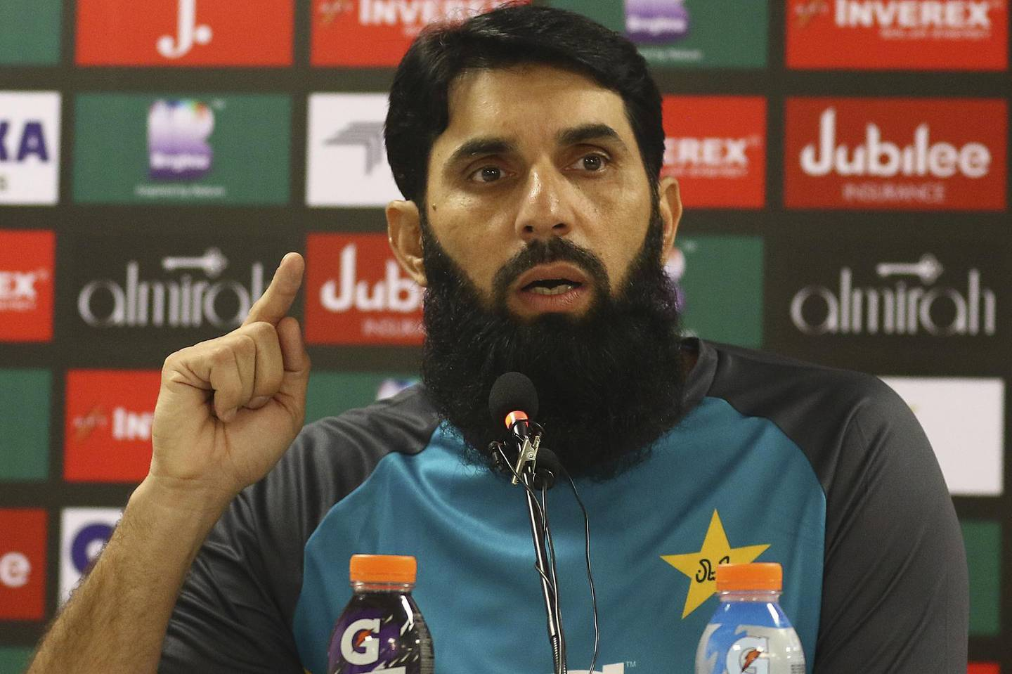 Pakistan's head coach and chief selector Misbah-ul-Haq speaks to reporters in Karachi, Pakistan, Wednesday, Sept. 25, 2019. Misbah said Sri Lanka's top players should have come for the limited-overs series in Pakistan after being assured of head-of-state-like security by the government. (AP Photo/Fareed Khan)