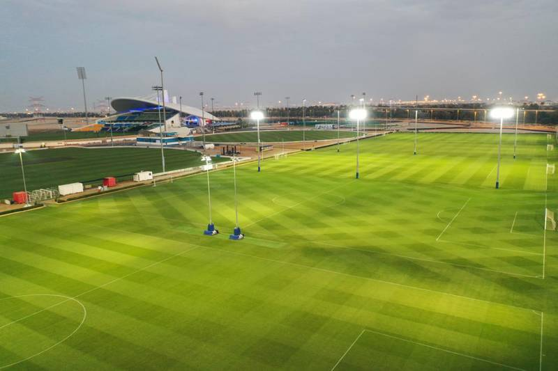 Zayed Cricket Stadium. Before and after shots of the grass fields surrounding the main arena. Photo: Abu Dhabi Cricket