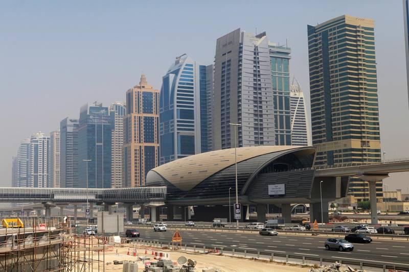 DUBAI, UAE. September 7, 2014 - Photograph of  JLT metro station in Dubai, September 7, 2014. (Photos by: Sarah Dea/The National, Story by: STANDALONE, News)
