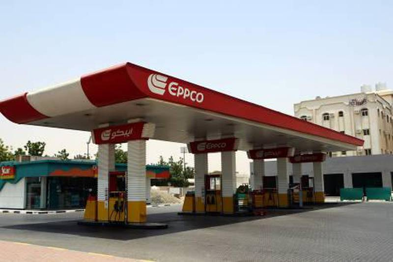 Sharjah , United Arab Emirates- June  24, 2011:  A dry Eppco Petrol station  near the University Area in Sharjah .  ( Satish Kumar / The National ) For Business