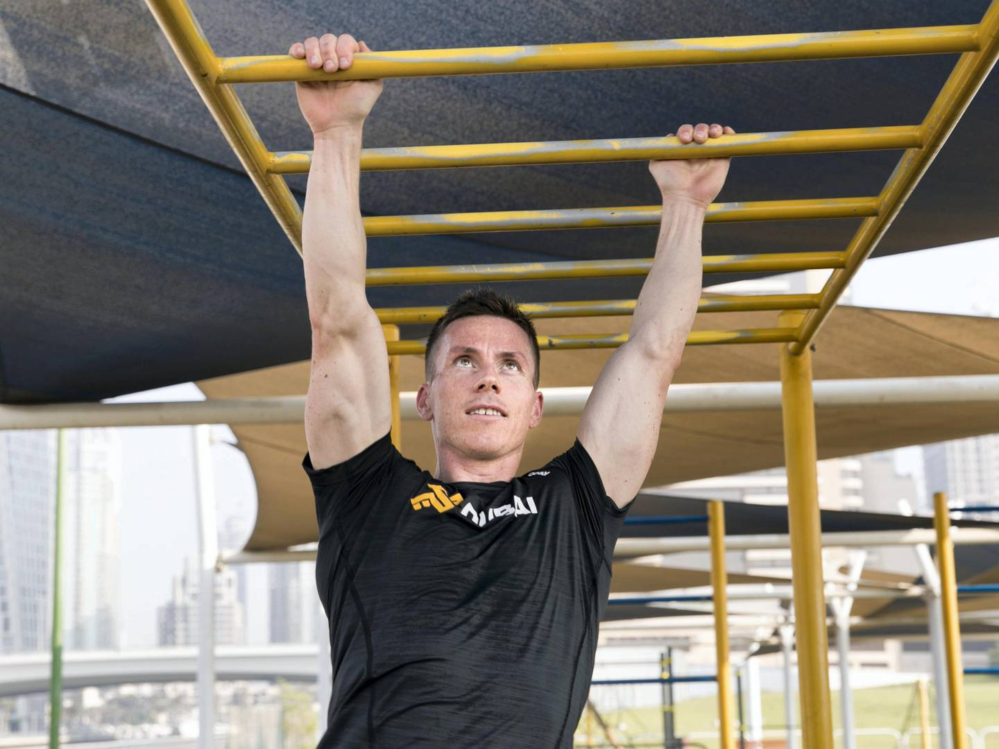 DUBAI, UNITED ARAB EMIRATES - OCT 18:Dubai based Norwegien XDubai athlete Hallvard Borsheim trains at SkyDive Dubai Athelete's park. He is encouraging people to sign up for 30 day fitness challenge. He will compete in the upcoming 2017 Spartan race in Hatta.(Photo by Reem Mohammed/The National)Reporter: Nick WebsterSection: NA