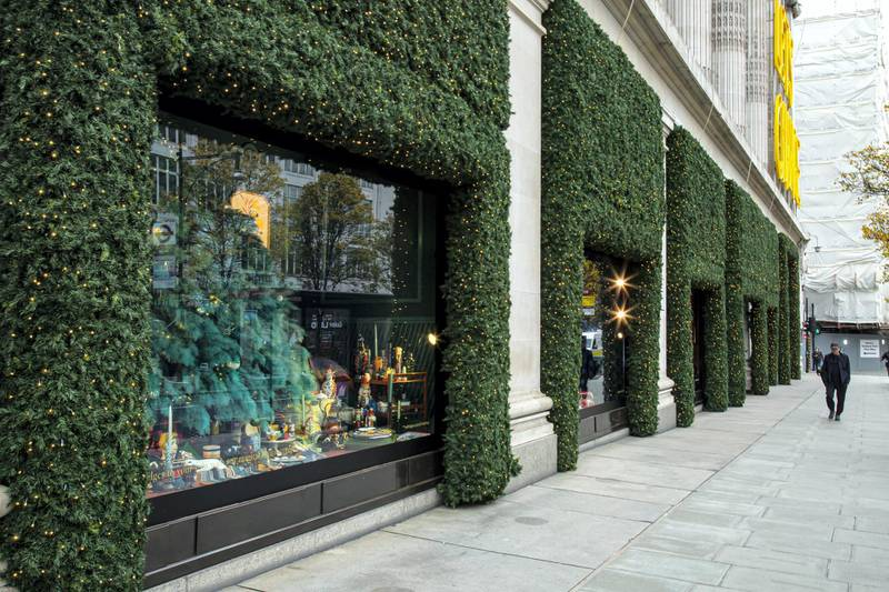 Locations in London during lockdown in the lead up to Christmas 2020. Selfridges