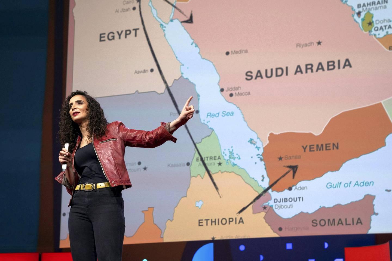 Ella Al-Shamahi speaks at TED2019: Bigger Than Us. April 15 - 19, 2019, Vancouver, BC, Canada. Photo: Bret Hartman / TED