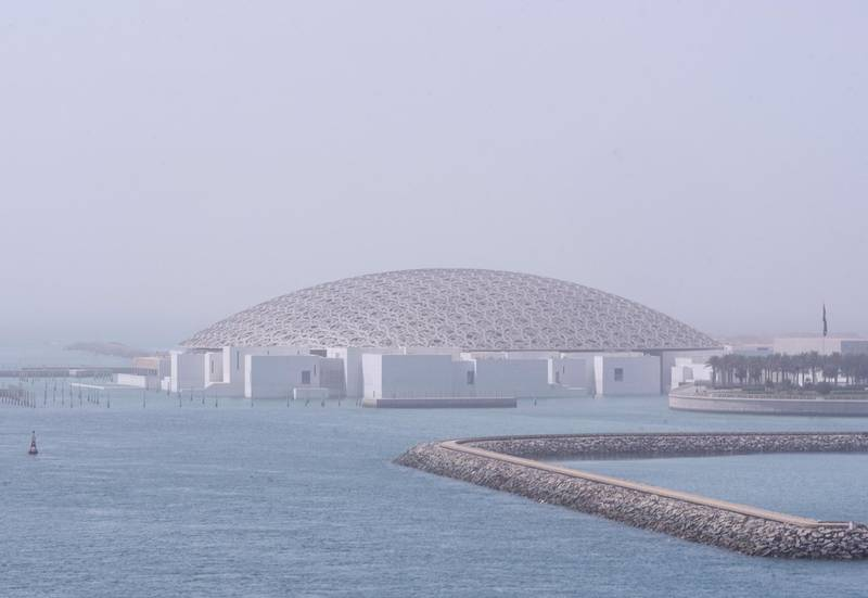 Hazy weather at Louvre, Abu Dhabi on June 15, 2021. Victor Besa / The National.