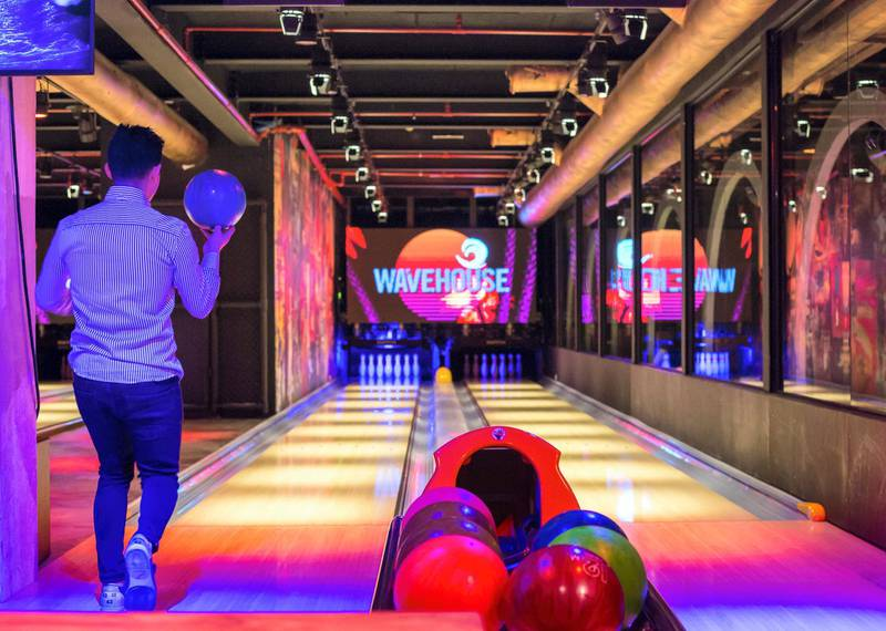 DUBAI, UNITED ARAB EMIRATES -The bowling alley at the  preview of new entertainment complex, Warehouse at Atlantis The Palm Dubai.  Leslie Pableo for The National for Katy Gillett's story