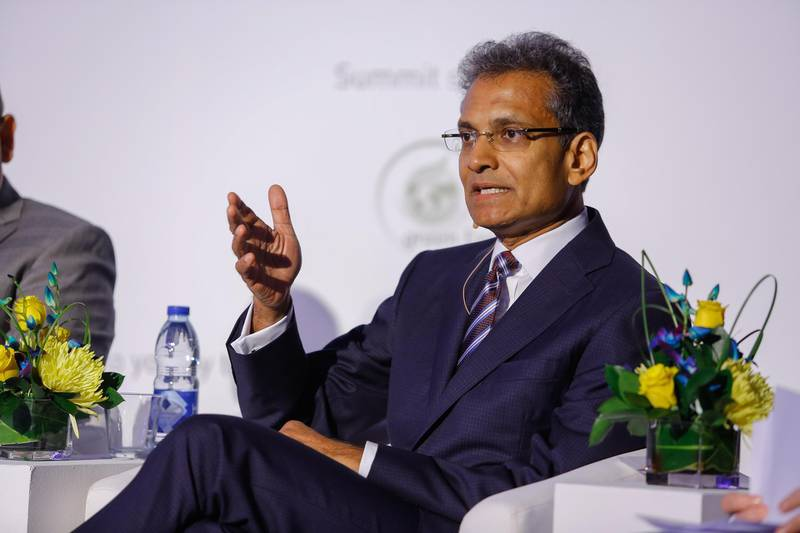 Dubai, U.A.E., September 14, 2015.  Paddy Padmanathan, CEO of Acwa Power at the Global Solar Leaders Summit, World Trade Center.   Victor Besa for The National. *** Local Caption ***  VB_14-09-15_GulfSol-13.jpg