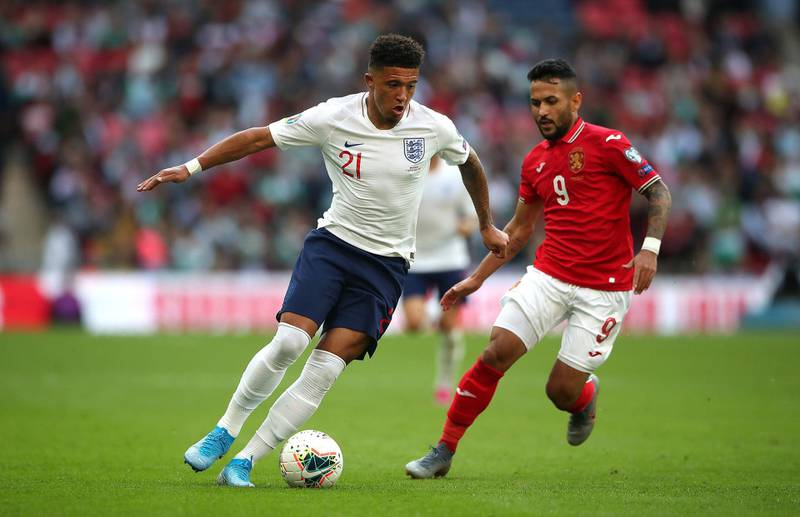 England's Jadon Sancho (left) and Bulgaria's Farias Wanderson (right) battle for the ball during the Euro 2020 Qualifying Group A match at Wembley Stadium, London. PA Photo. Picture date: Saturday September 7, 2019. See PA story SOCCER England. Photo credit should read: Nick Potts/PA Wire. RESTRICTIONS: Use subject to FA restrictions. Editorial use only. Commercial use only with prior written consent of the FA. No editing except cropping.
