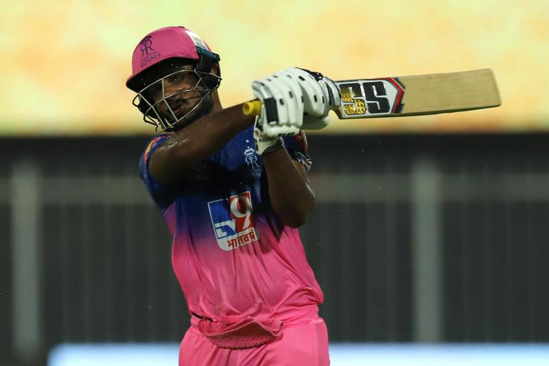 Sanju Samson of Rajasthan Royals reacts after his dismissal during match 4 of season 13 of the Dream 11 Indian Premier League (IPL) between Rajasthan Royals and Chennai Super Kings held at the Sharjah Cricket Stadium, Sharjah in the United Arab Emirates on the 22nd September 2020. Photo by: Deepak Malik  / Sportzpics for BCCI