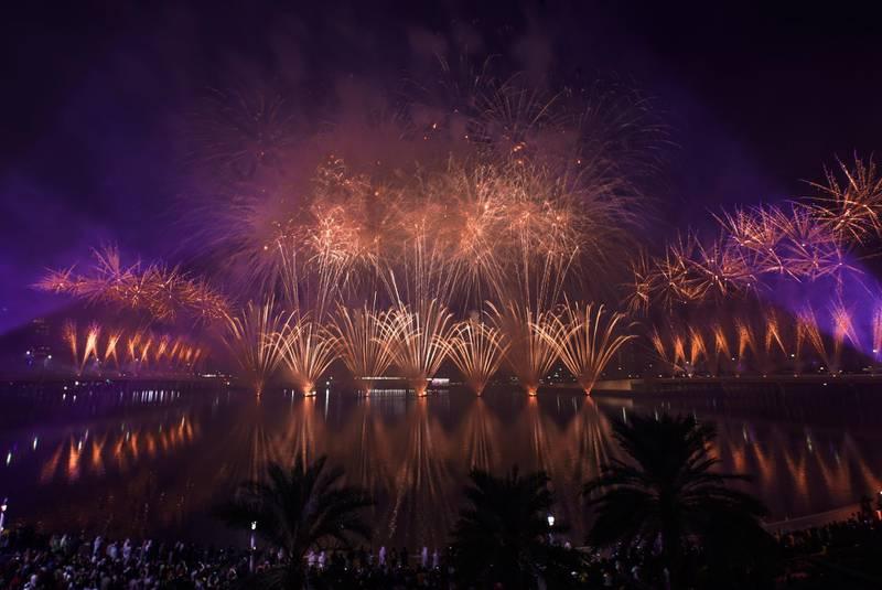 Abu Dhabi, United Arab Emirates, December 31, 2019.  NYE Fireworks at Al Maryah Island.Victor Besa / The NationalSection:  NAReporter:  Saeed Saeed