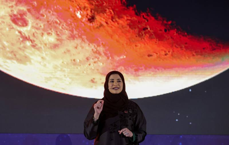 Sarah bint Yousef Al Amiri, UAE Minister of State for Advanced Sciences, speaks during an event to mark Hope Probe's entering the orbit of Mars, in Dubai, United Arab Emirates, February 9, 2021. REUTERS/Christopher Pike
