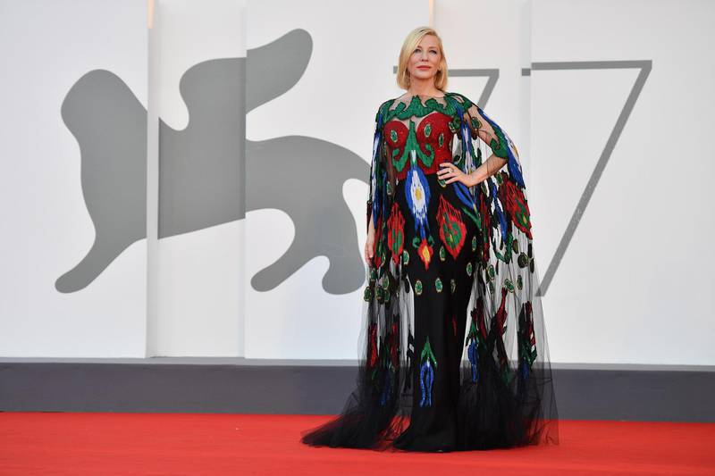 epa08664600 Australian actress Cate Blanchett, president of the 'Venezia 77' arrives for the awarding ceremony of the 77th annual Venice International Film Festival, in Venice, Italy, 12 September 2020. The event is the first major in-person film fest to be held in the wake of the Covid-19 coronavirus pandemic. Attendees had to follow strict safety measures like mandatory face masks indoors, temperature scanners, and socially distanced screenings to reduce the risk of infection. The public was barred from the red carpet, and big stars were largely absent this year. The 77th edition of the festival runs from 02 to 12 September 2020.  EPA-EFE/ETTORE FERRARI