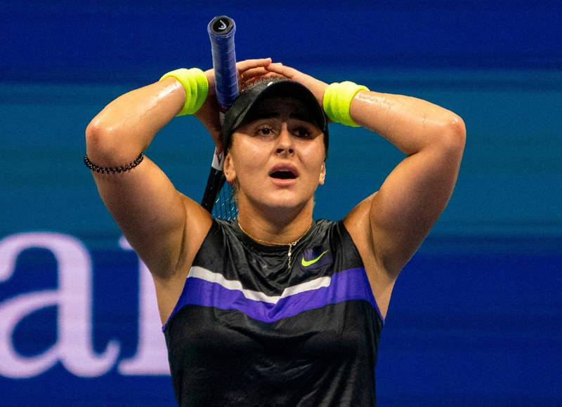 CORRECTION / Bianca Andreescu of Canada celebrates her win over Belinda Bencic of Switzerland during their semi-finals women's Singles match at the 2019 US Open at the USTA Billie Jean King National Tennis Center in New York on September 5, 2019.                             / AFP / Don EMMERT