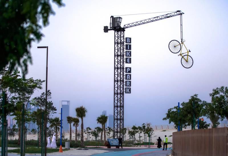 Abu Dhabi, United Arab Emirates, November 8, 2020.   The new Hudayriyat Leisure and Entertainment District at Hudayriyat Island.  The Bike Park area.Victor Besa/The NationalSection:  NAReporter:  Haneen Dajani