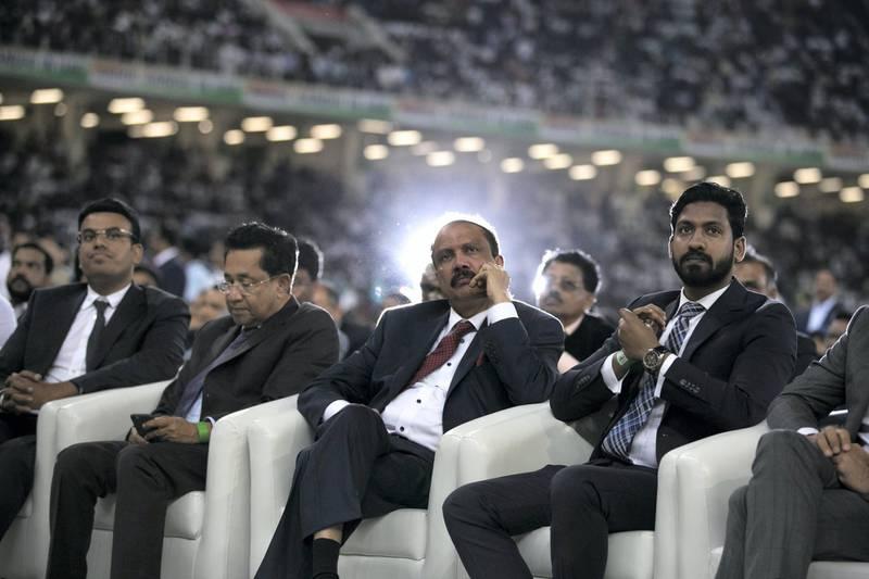 DUBAI, UNITED ARAB EMIRATES - JANUARY 11, 2019.   A man looks onto the stage at Dubai International Cricket Stadium.  (Photo by Reem Mohammed/The National)  Reporter: Ramola Talwar. Section:  NA