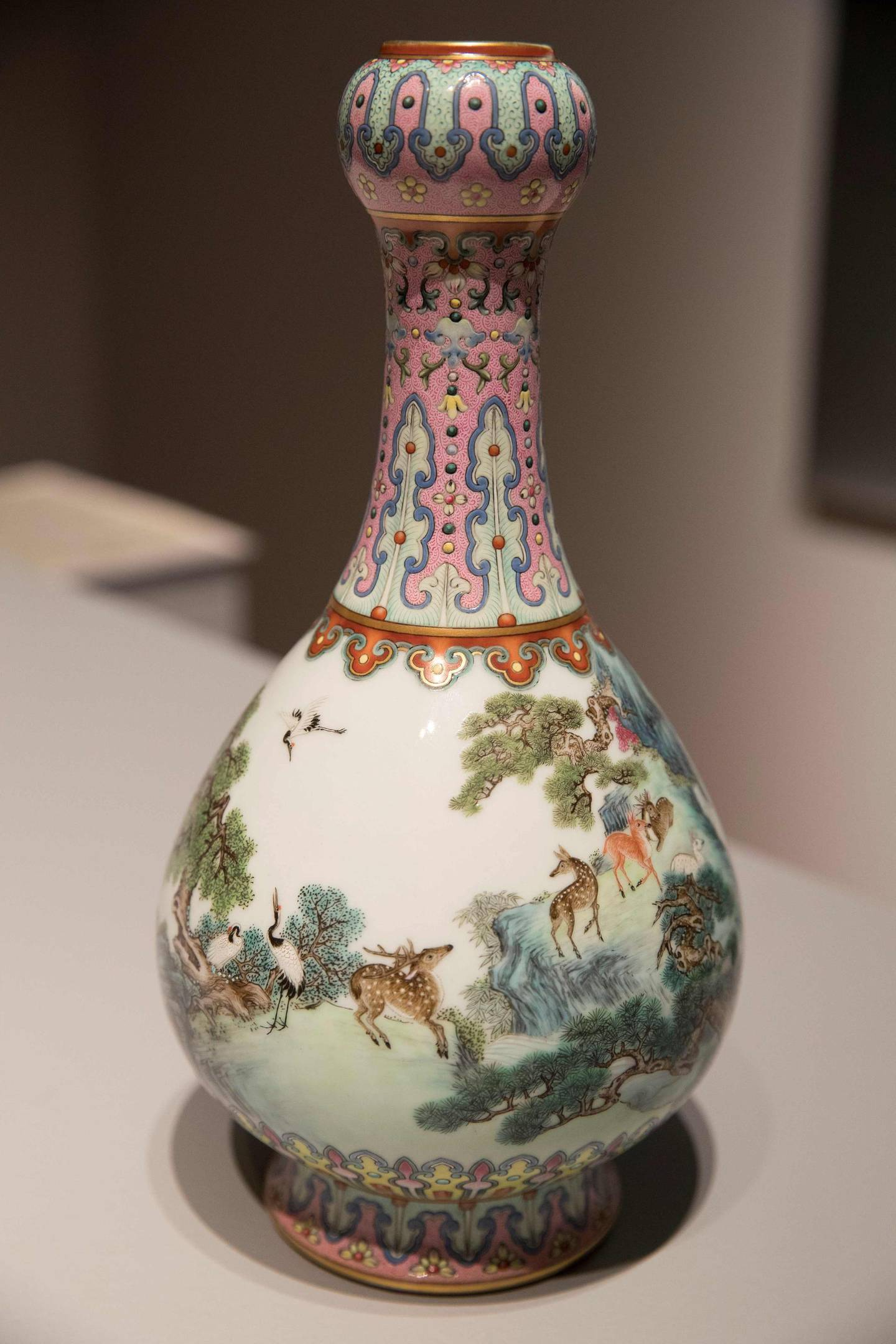 (FILES) In this file photo taken on May 22, 2018 a rare Imperial Qianlong porcelain vase (18th century) is displayed at Sotheby's auction company in Paris.  An 18th-century Chinese vase forgotten for decades in a shoe box in a French attic has been sold for 16.2 million euros ($19 million) at Sotheby's in Paris on June 12, 2018 -- more than 30 times the estimate. / AFP / Thomas SAMSON