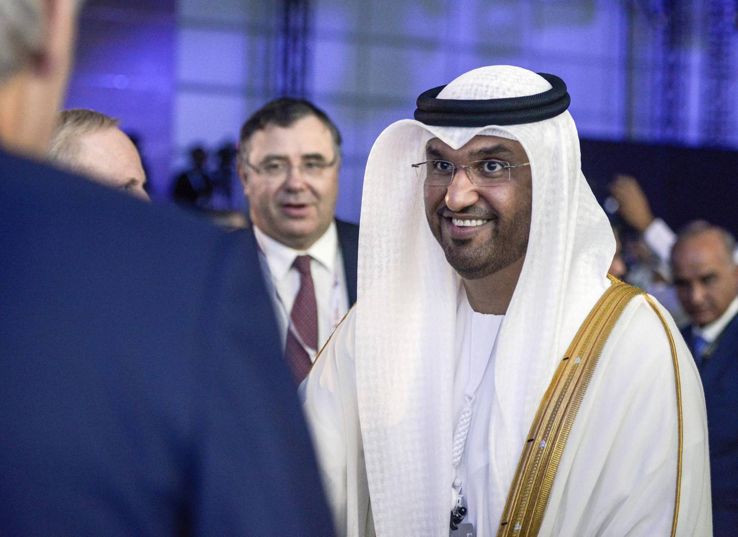 Abu Dhabi, United Arab Emirates - Dr. Sultan Ahmed Al Jaber, UAE Minister of State and ADNOC Group CEO at the Abu Dhabi International Petroleum Exhibition and Conference on Monday November 13, 2017. (Khushnum Bhandari/ The National)