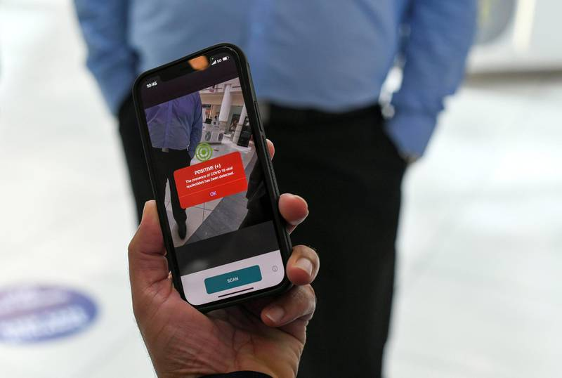 Face Scanning Detection-AD  New protocol of face scanning detection on the hand held device at Al Wahda Mall in Abu Dhabi on June 28, 2021. Khushnum Bhandari/ The National Reporter: N/A News