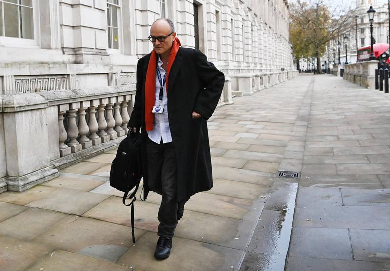 epa08817184 Senior Advisor to British Prime Minister Dominic Cummings arrives to N.10 Downing Street in London, Britain, 13 November 2020. According to news reports Cummings stated he plans to step down by Christmas.  EPA/FACUNDO ARRIZABALAGA