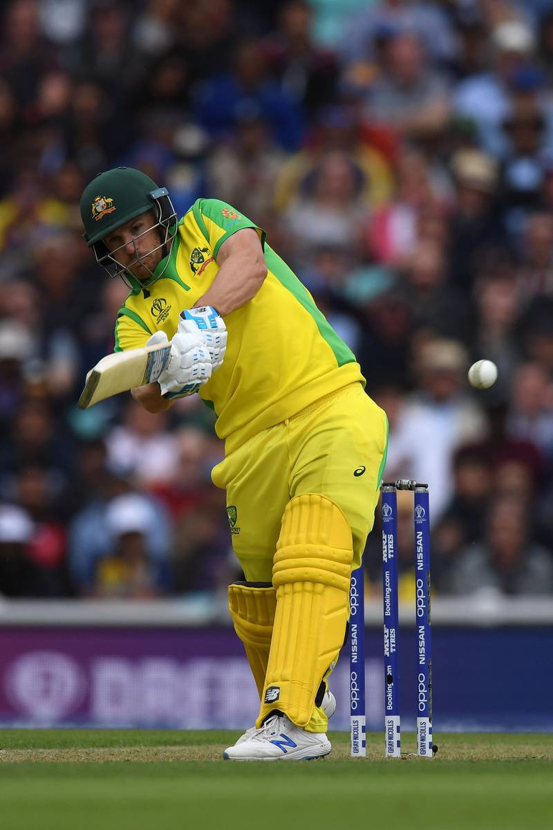 LONDON, ENGLAND - JUNE 15:  Aaron Finch of Australia hits a boundary to bring up his 150 during the Group Stage match of the ICC Cricket World Cup 2019 between Sri Lanka and Australia at The Oval on June 15, 2019 in London, England. (Photo by Mike Hewitt/Getty Images)
