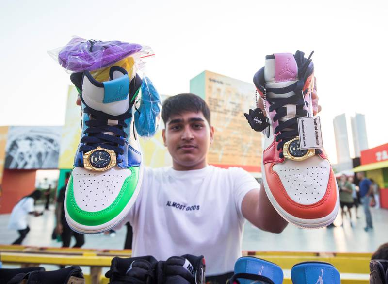 Dubai, United Arab Emirates-  A man showing shoes at the Sole Dubai Festival at D3.  Leslie Pableo for The National for Saeed Saeed's story