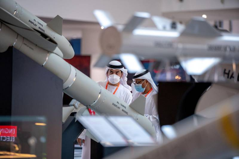 Abu Dhabi, United Arab Emirates, February 23, 2021.  Idex 2021 Day 3.  A visitor looks at the Al-Tariq missile at the Halcon stand.Victor Besa / The NationalSection:  NAReporter: