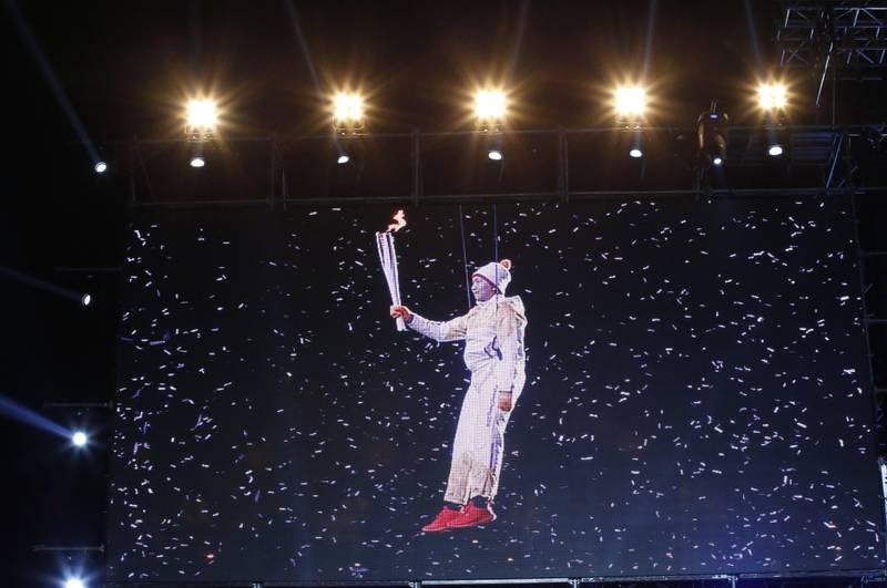 epa06301741 South Korean's Ryu Seung-min, member of the International Olympic Committee (IOC) Athletes's Commission appears on a screen during The Olympic Torch Relay K-pop Concert for the PyeongChang Olympics 2018 G-100days Event at the Gwanghwamun Square Special Outdoor Stage in Seoul, South Korea, 01 November 2017. The PyeongChang 2018 Winter Games Olympics, will run from 09 to 25 February 2018.  EPA/KIM HEE-CHUL / POOL