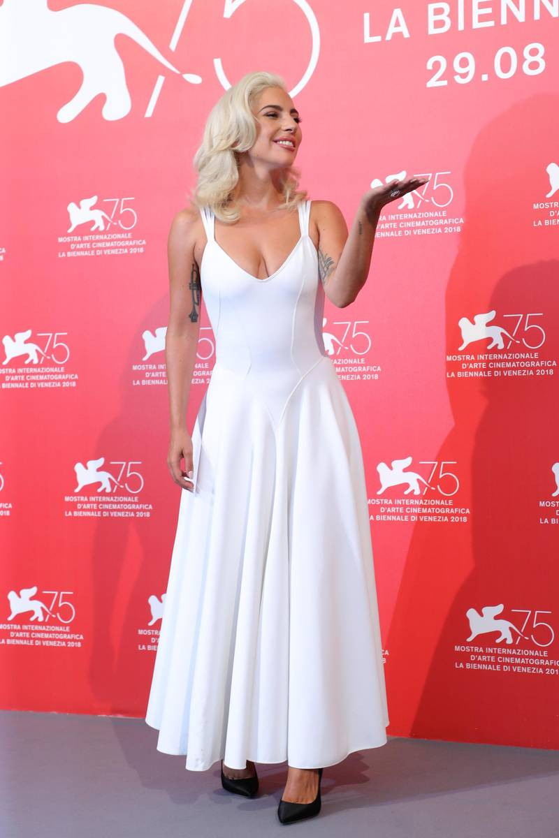 VENICE, ITALY - AUGUST 31:  Lady Gaga attends 'A Star Is Born' photocall during the 75th Venice Film Festival at Sala Casino on August 31, 2018 in Venice, Italy.  (Photo by Vittorio Zunino Celotto/Getty Images)