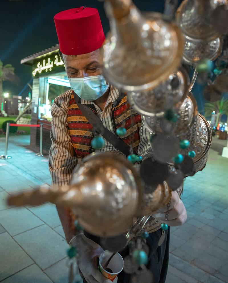 Abu Dhabi, United Arab Emirates, November 23, 2020.   Sheikh Zayed Heritage Festival celebrations at Al Wathba.  Turkish tea.Victor Besa/The NationalReporter:  Samia BadihSection:  NAFor:  Standalone/Stock
