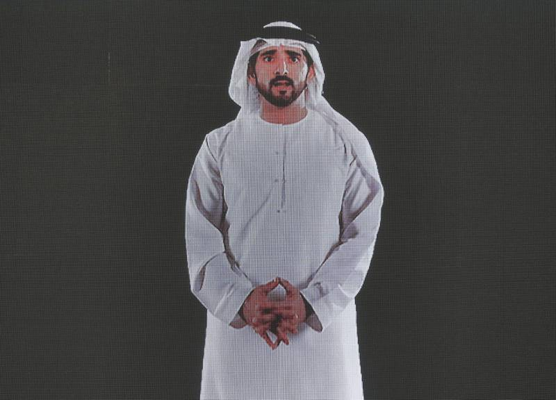 Dubai, United Arab Emirates - February 11, 2019: Sheikh Hamdan bin Mohammed Al Maktoum does a presentation on screen on day 2 at the World Government Summit. Monday the 11th of February 2019 at Madinat, Dubai. Chris Whiteoak / The National