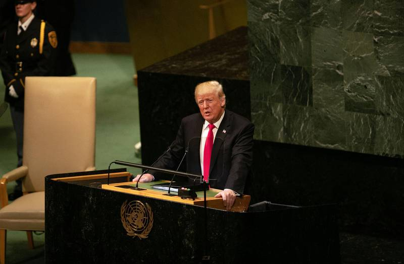 """U.S. President Donald Trump speaks during the UN General Assembly meeting in New York, U.S., on Tuesday, Sept. 25, 2018. Trumpcalled on the rest of the world to isolate Iran and said a U.S. campaign of """"economic pressure"""" would turn back the Islamic Republic's aggression, in his second address to the United Nations General Assembly. Photographer: Jeenah Moon/Bloomberg"""