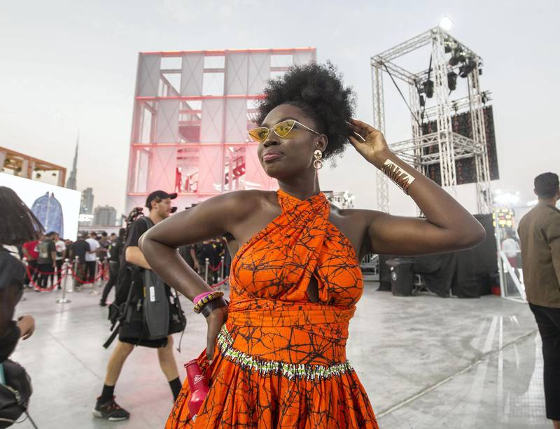Dubai, United Arab Emirates-  A visitor posing for the camera at the Sole Dubai Festival at D3.  Leslie Pableo for The National for Saeed Saeed's story