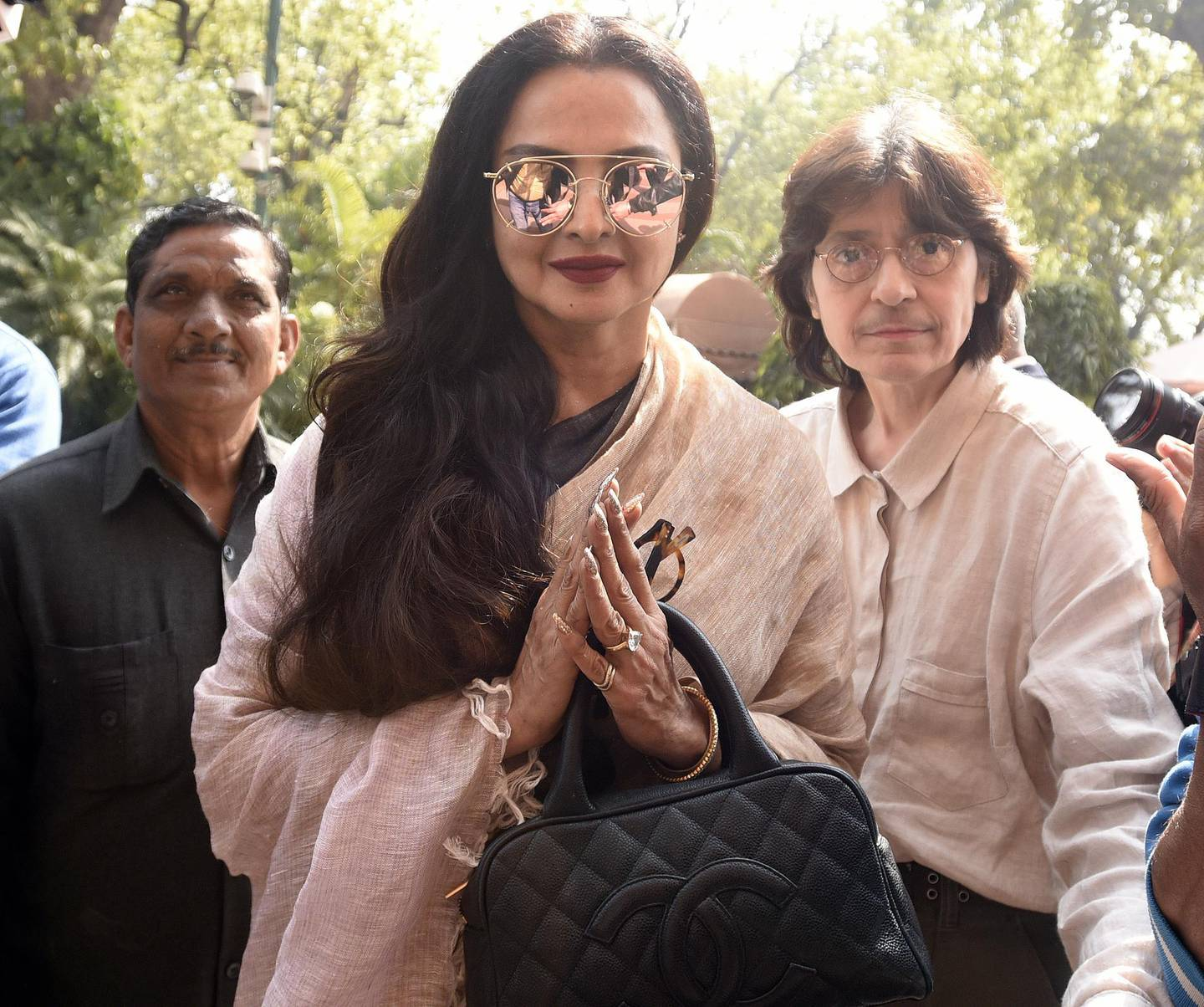 NEW DELHI, INDIA - FEBRUARY 8: Rajya Sabha Member of Parliament and Film actress Rekha after attending the Parliament Budget Session on February 8, 2017 in New Delhi, India. Prime Minister Narendra Modi spoke against corruption and black money during his reply to the debate on motion of thanks to President's address in Rajya Sabha on Wednesday. Defending demonetisation, Modi said that the government's fight against corruption is not political. (Photo by Sonu Mehta/Hindustan Times via Getty Images)
